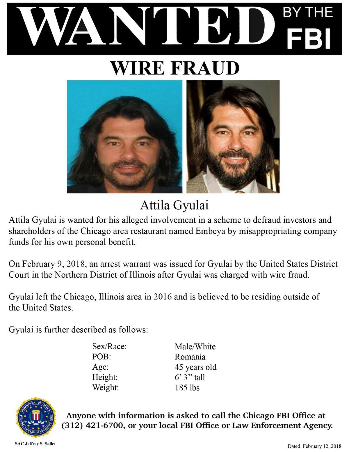 FBI wanted poster for Attila Gyulai