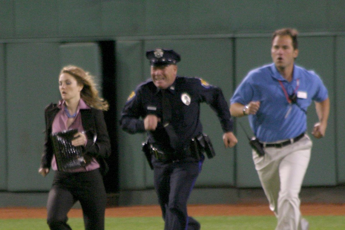 """Drew Barrymore and Jimmy Fallon Shoot the Farrelly Brothers' New Film """"Fever Pitch"""" at Fenway Park - September 20, 2004"""