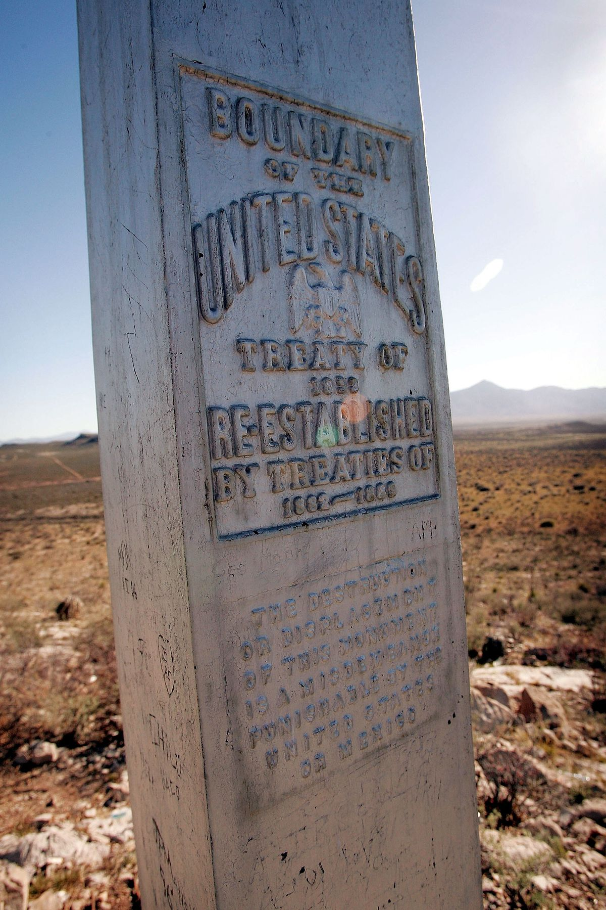 SIERRA VISTA, AZ - APRIL 1: An obelisk marks the United States/Mexican border April 1, 2005 near Sierra Vista, Arizona. More than 1,000 volunteers from the Minuteman Project are expected to fan out across a 23 mile stretch on the Arizona side of the border to search for Illegal aliens who are making the trek into the United States from Mexico during April. (Photo by Scott Olson/Getty Images)