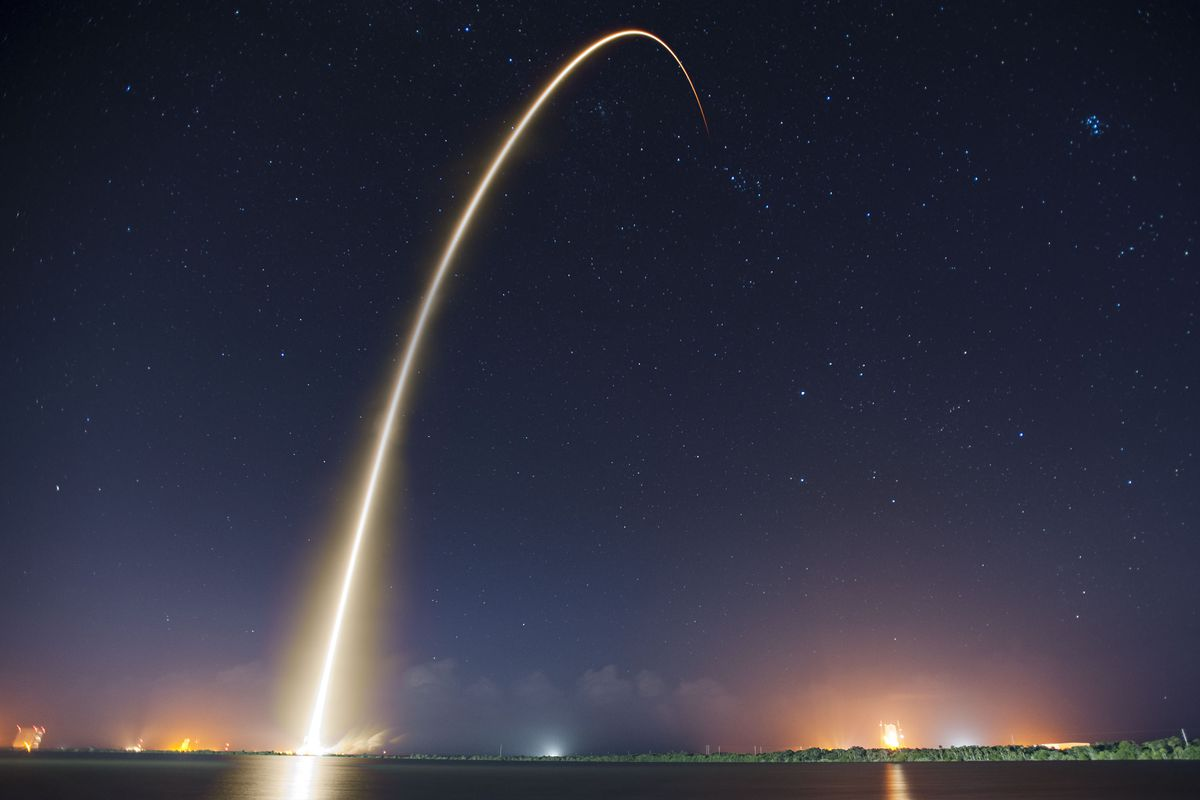 A long exposure photo of SpaceX's previous launch to the International Space Station.
