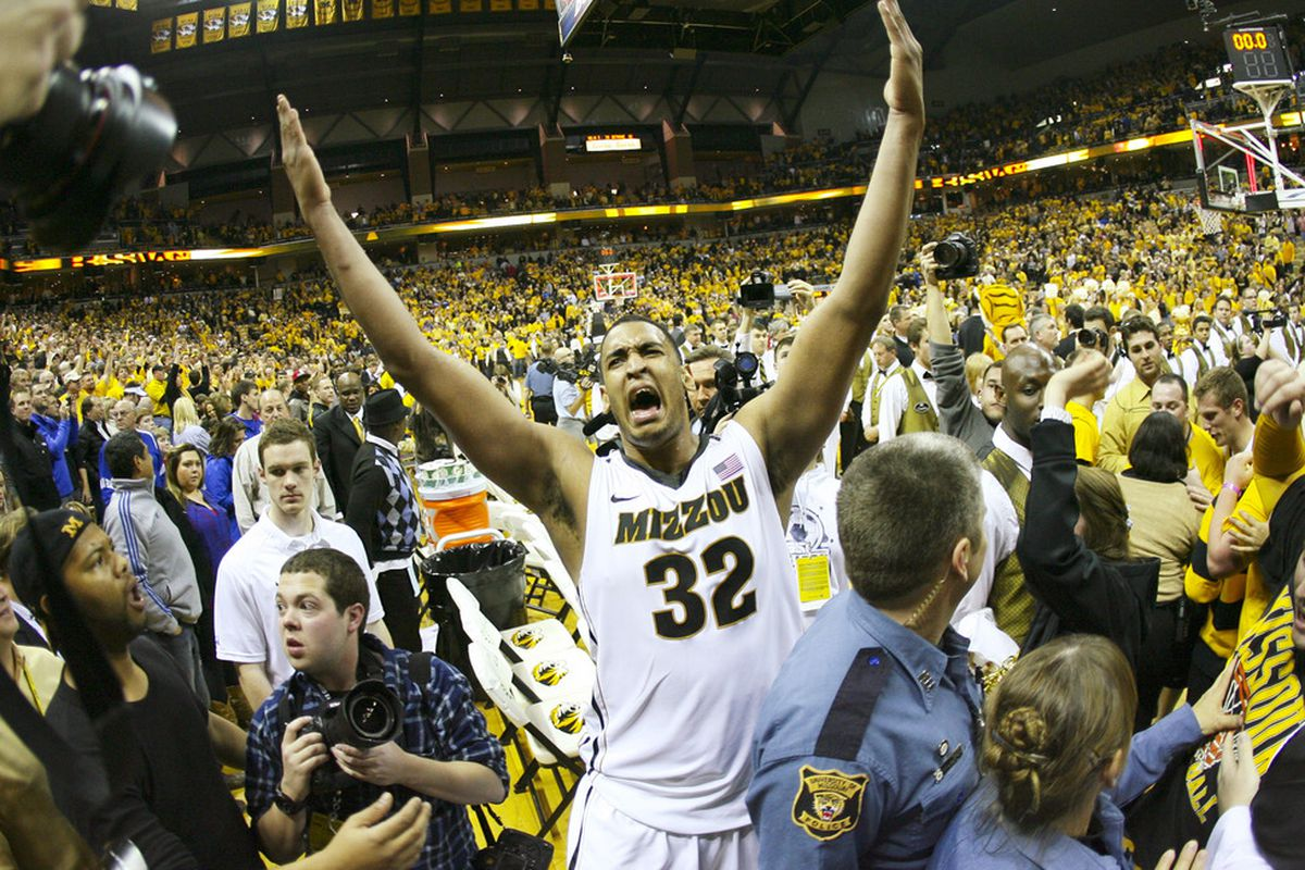 COLUMBIA, MO - FEBRUARY 04:   Steve Moore #32 of the Missouri Tigers celebrates a 74-71 win over the Kansas Jayhawks at Mizzou Arena on February 4, 2012 in Columbia, Missouri. (Photo by Ed Zurga/Getty Images)