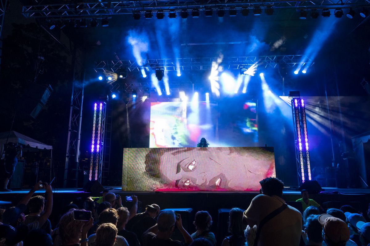 Flying Lotus performs at the Red Stage at Pitchfork music festival at Union Park, Sunday, Sept. 12, 2021.