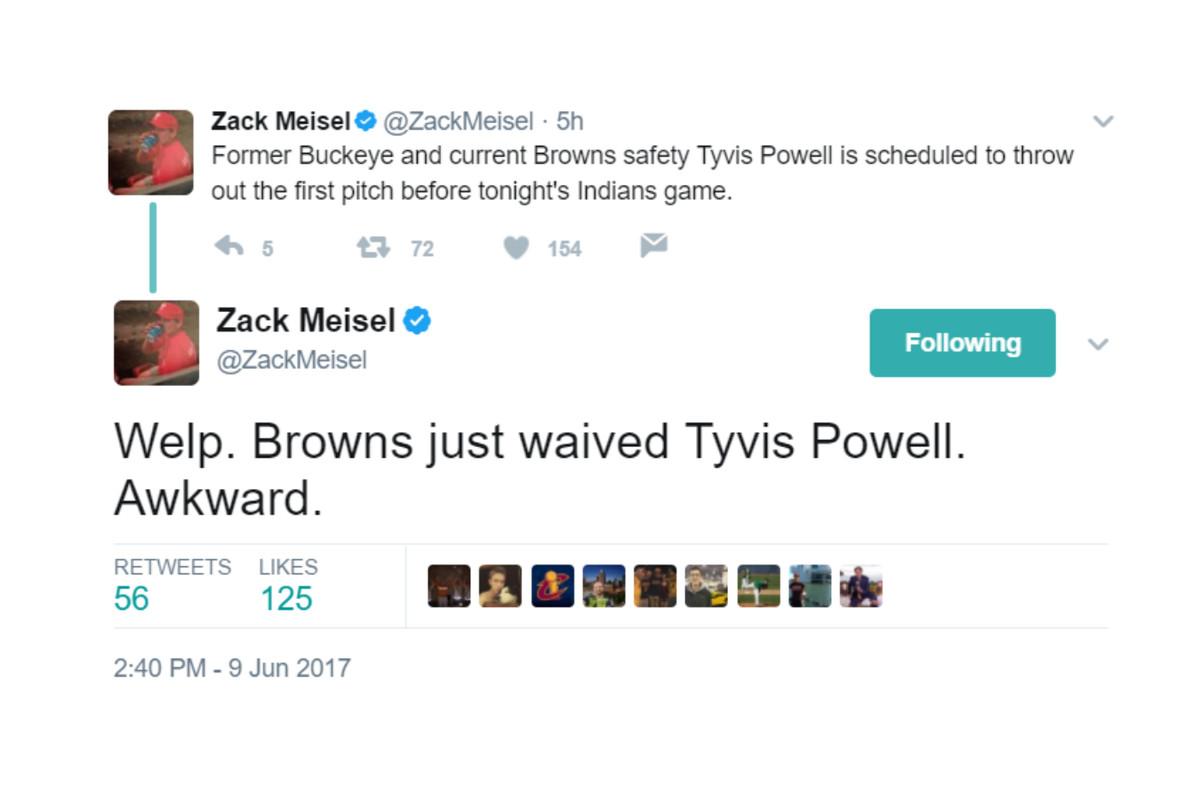 Browns Cut DB Tyvis Powell Before He Throws Ceremonial Pitch