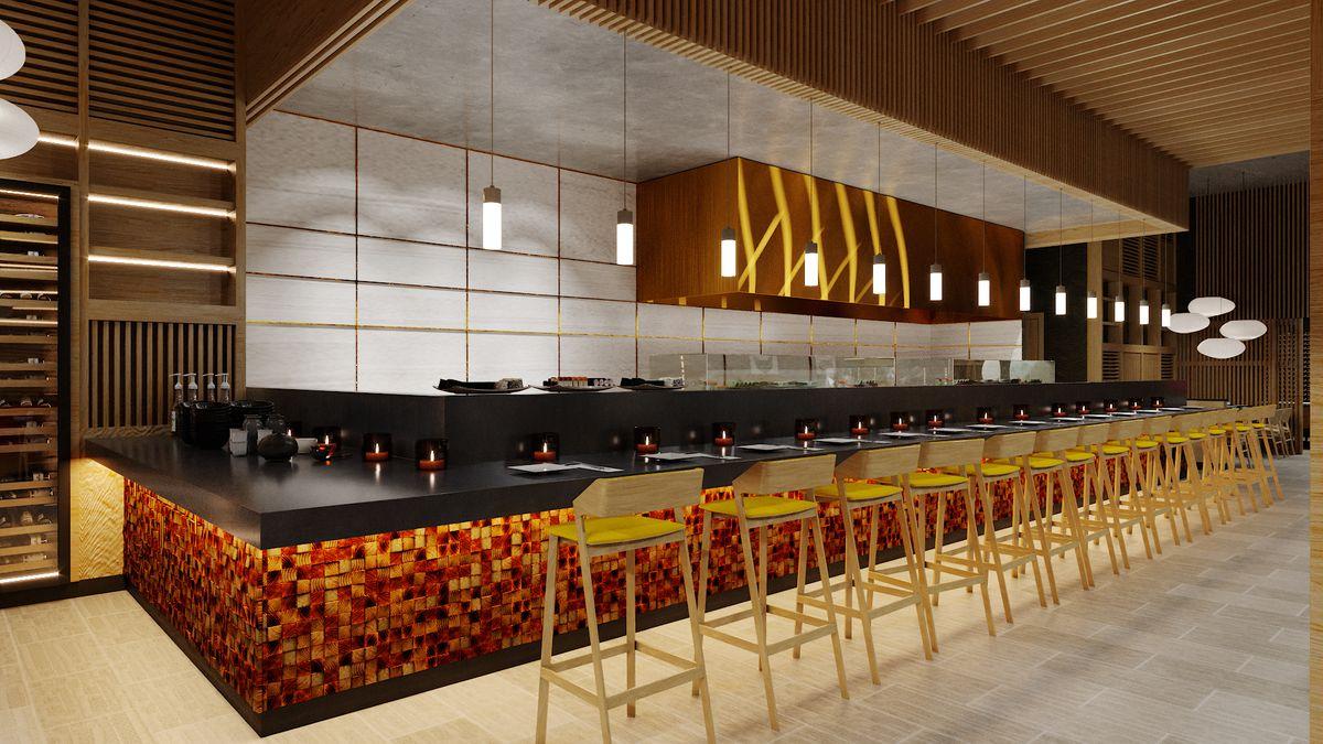 A rendering of a bar at a pan-Asian restaurant