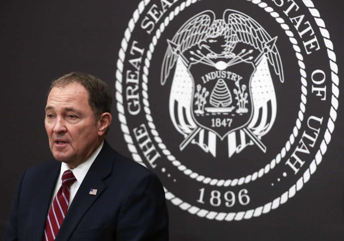 Gov. Gary Herbert talks about the COVID-19 pandemic in Utah during a briefing at the Capitol in Salt Lake City on Thursday, Dec. 17, 2020.