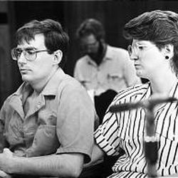 Mark Hofmann, left, and wife Doralee attend a Board of Pardons hearing in January 1988, before their divorce.