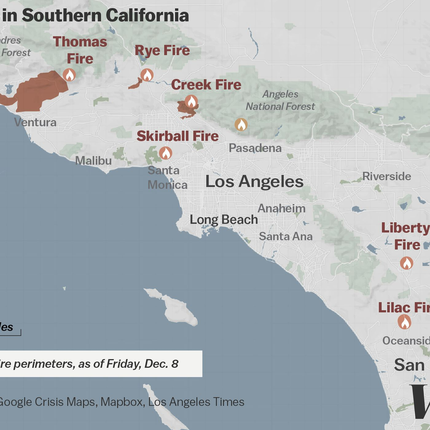 Map: where Southern California\'s massive blazes are burning - Vox