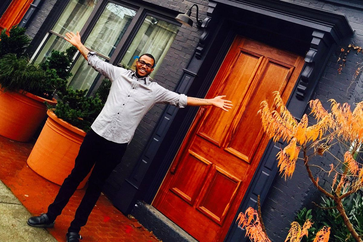 Kwame Onwuachi in front of the site of Shaw Bijou