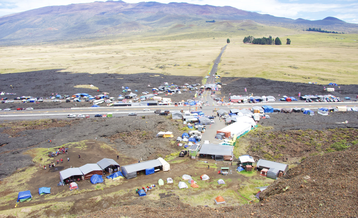overhead view of encampment at Maunakea