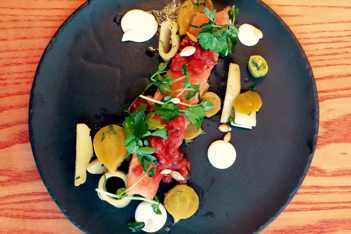 Étienne Huot's trout with leeks and smoked seaweed was a hit