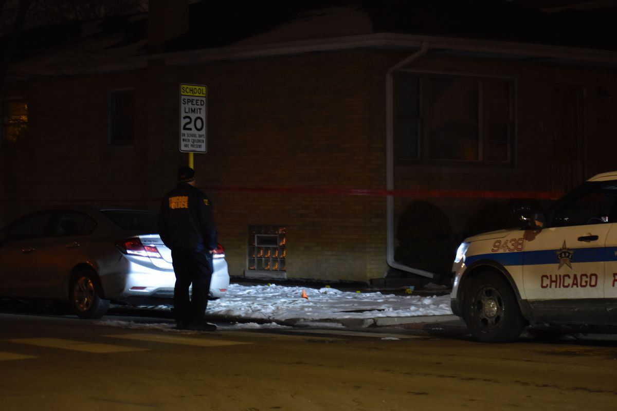 Chicago police investigate a fatal shooting Feb. 8, 2020, in the 3700 block of West 58th Street.