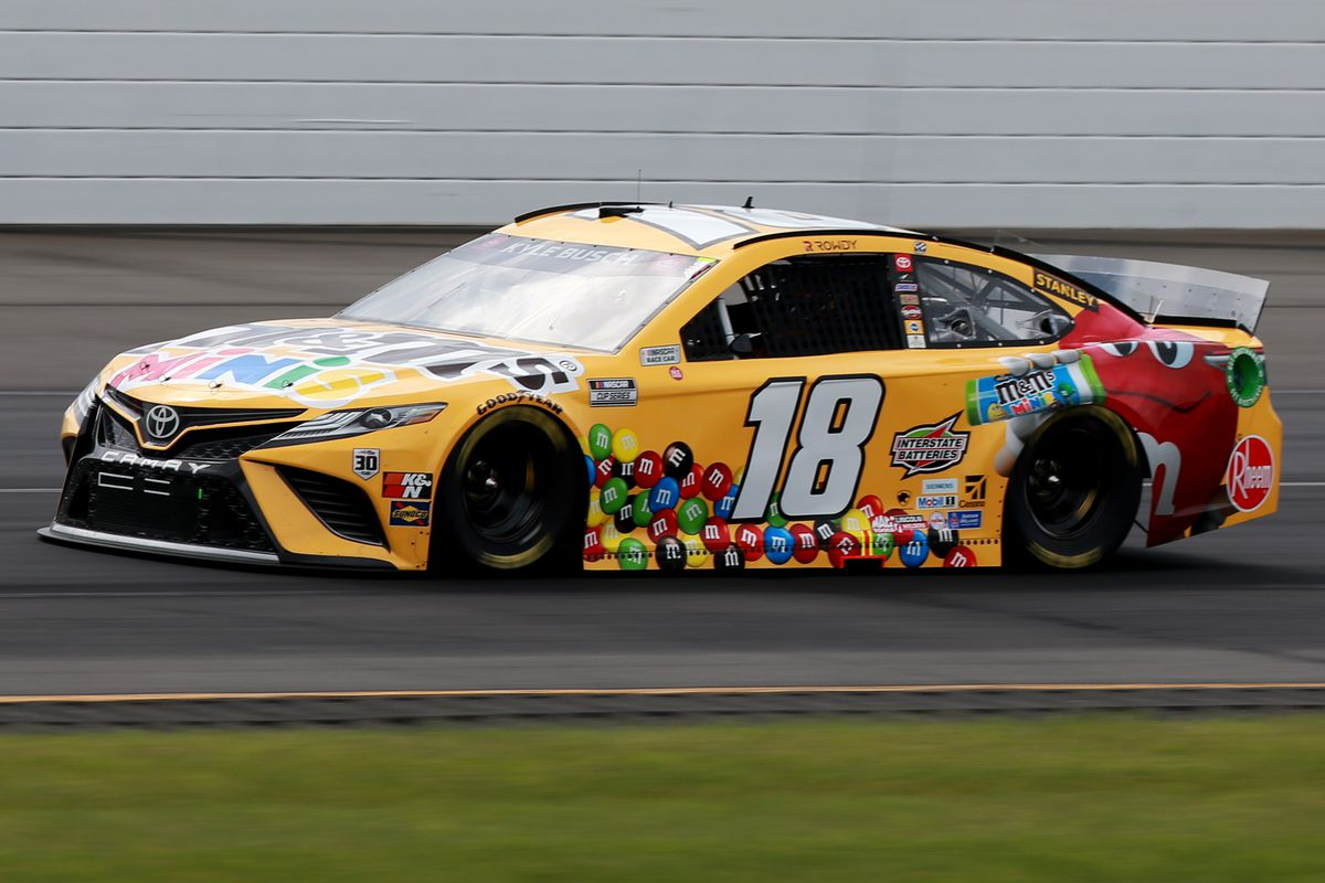 Kyle Busch, driver of the #18 M&M's Mini's Toyota, drives during the NASCAR Cup Series Pocono Organics CBD 325 at Pocono Raceway on June 26, 2021 in Long Pond, Pennsylvania.