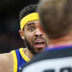 Golden State Warriors center JaVale McGee (1) argues with referee John Goble after a goaltending call during the game against the Utah Jazz at Vivint Arena in Salt Lake City on Tuesday, April 10, 2018.