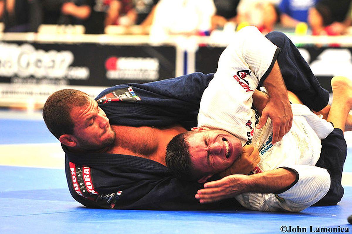 "Brazilian Jiu-Jitsu blackbelt Roberto ""Cyborg"" Abreu chokes his opponent at the 2009 Pan-American Jiu-Jitsu Championship."