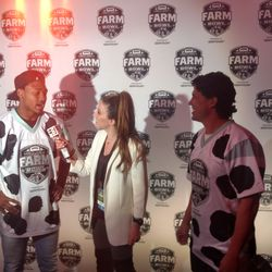 Stefon Diggs and JJ Nunes talking to the media after their Farm Bowl victory.