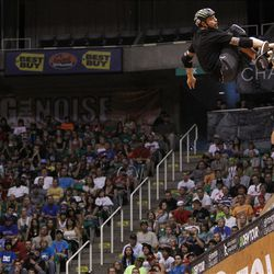 Pierre-Luc Gagnon of Montreal, Canada skates to a first place victory in the skateboard vert final at Energy Solutions Arena for the Salt Lake City stop of the Dew Tour on Saturday, Sept. 10, 2011.