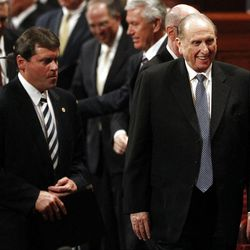 President Thomas S. Monson leaves the afternoon session of the 182nd Annual General Conference for The Church of Jesus Christ of Latter-day Saints at the LDS Conference Center in Salt Lake City on Saturday, March 31, 2012.