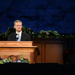 Elder David A. Bednar of the Quorum of the Twelve Apostles of The Church of Jesus Christ of Latter-day Saints speaks during the Sunday morning session of the 190th Annual General Conference, televised from the Church Office Building in Salt Lake City on Sunday, April 5, 2020.