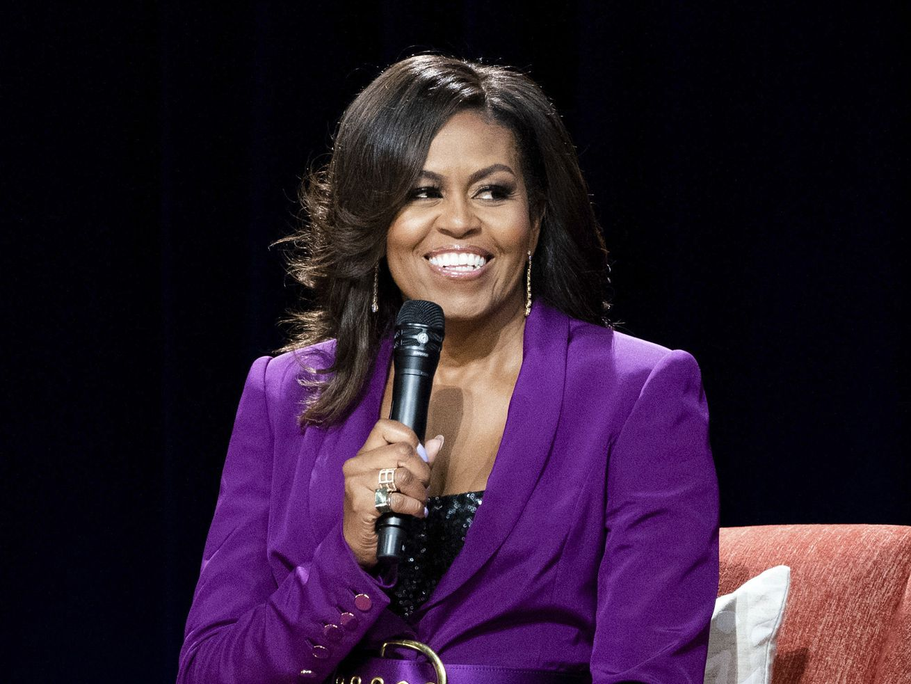 In this 2019 file photo, former first lady Michelle Obama speaks during an appearance in Atlanta.