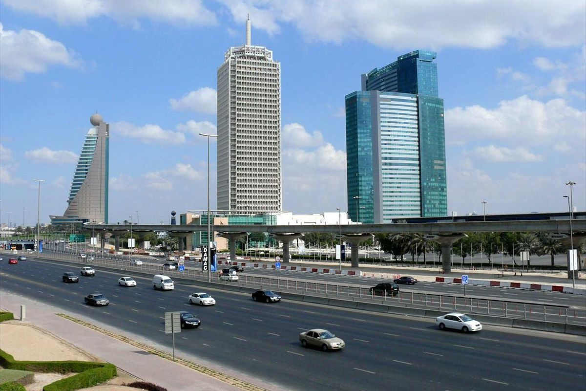 The Dubai World Trade Centre, a hulking monument to modernism built in 1979, sits between the Etisalat Tower and the Dubai World Trade Centre Residence. At 489 feet tall, it seems diminutive today, but was among the first skyscrapers to be built in the ci