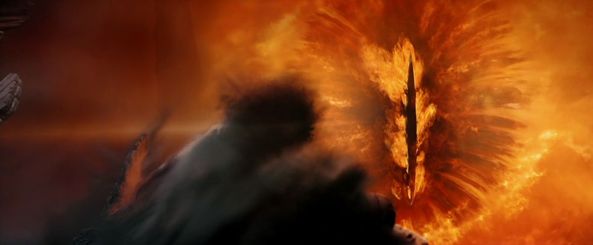 Frodo looks into the flaming eye of Sauron from the Seat of Amon Hen in The Lord of the Rings: The Fellowship of the Ring.