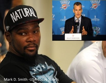 Kevin Durant and Billy Donovan, April 30, 2015