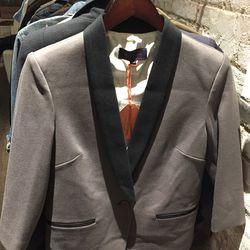 Shrunken tuxedo blazer, $175
