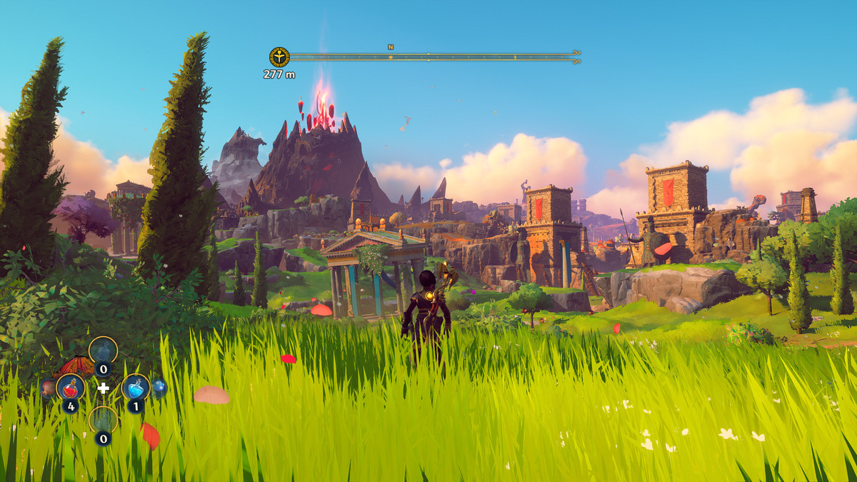 Fenyx stands in one of the grassy landscapes in Immortals Fenyx Rising