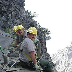 Rex Walker, front, died after falling several hundred feet down a steep slope at Timpanogos Cave National Monument.