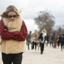 Olivia Palermo in a shearling vest.