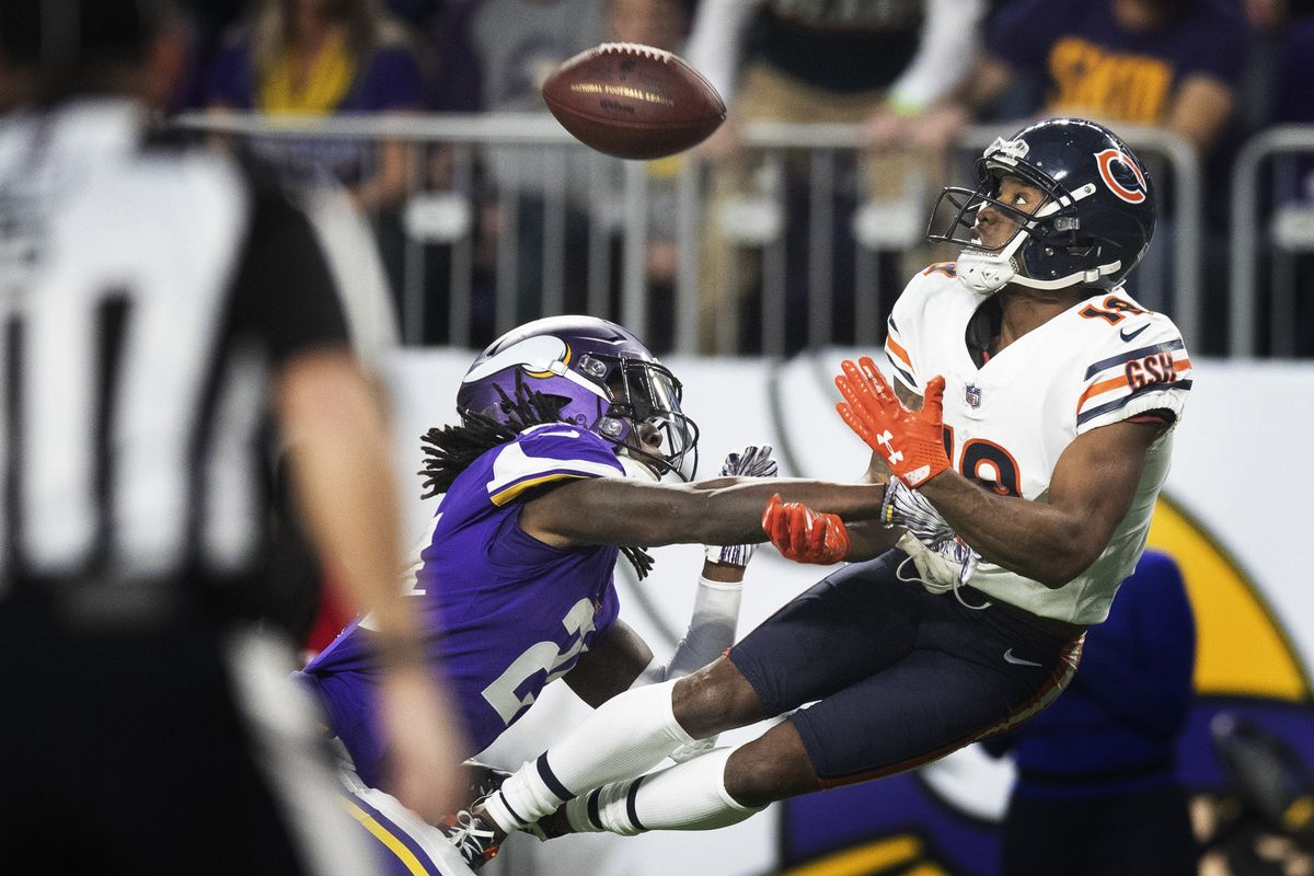 Chicago Bears wide receiver Taylor Gabriel (18) caught a 39 yard pass over Minnesota Vikings defensive back Holton Hill (24) in the second quarter at U.S. Bank Stadium Sunday December 30, 2018 in Minneapolis , MN.] The Minnesota Vikings hosted the Chicago