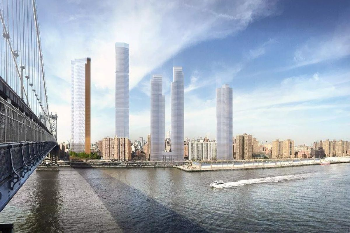 A digital rendering of four high-rise buildings towering over the Lower East Side of Manhattan along the waterfront.