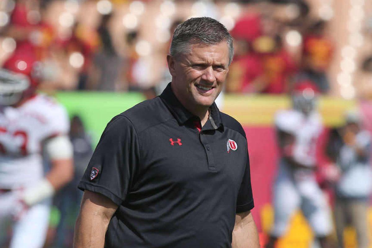 Utah Utes head coach Kyle Whittingham as the University of Utah prepares to play USC  Saturday, Oct. 26, 2013, in Los Angeles, Calif.