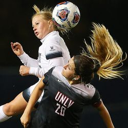 BYU Bizzy Phillips Bowen (10) and BYU Jocelyn Loomis (20) battle for the ball as BYU and UNLV play in the first round of the NCAA tournament in Provo on Friday, Nov. 11, 2016.