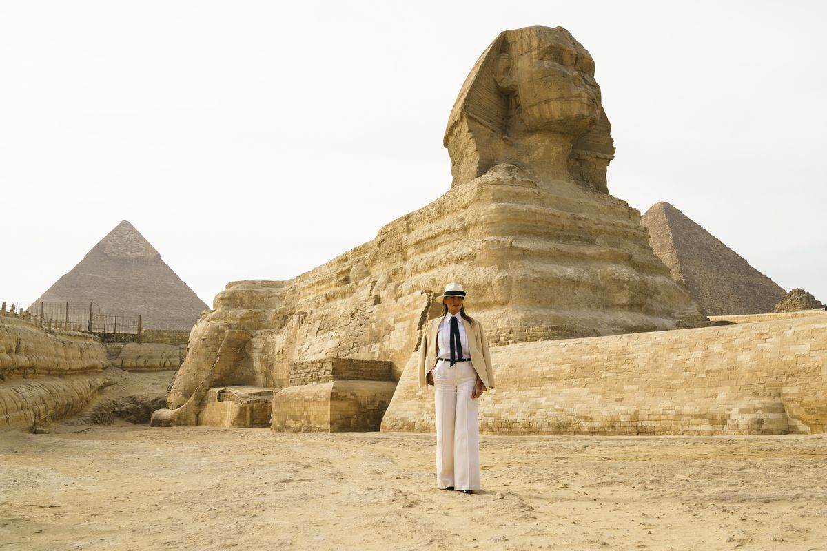October 6: First lady Melania Trump visits the ancient statue of Sphinx, at the historic site of Giza Pyramids in Giza, near Cairo, Egypt. Read More.(Carolyn Kaster/AP)