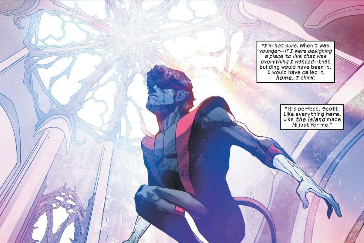 Nightcrawler teleports inside the beautiful glass chamber within Krakoa's strange tower in X-Men #7, Marvel Comics (2020).
