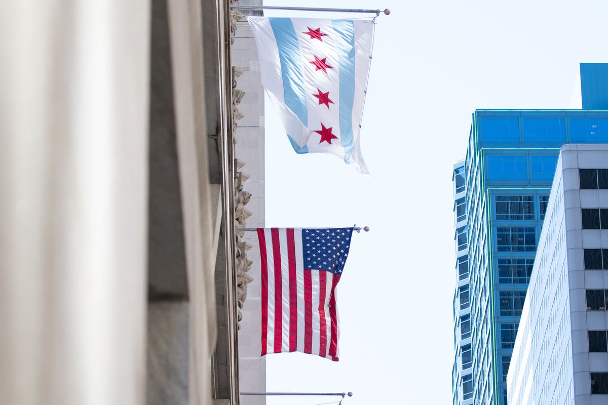 The current Chicago city flag hangs outside City Hall.