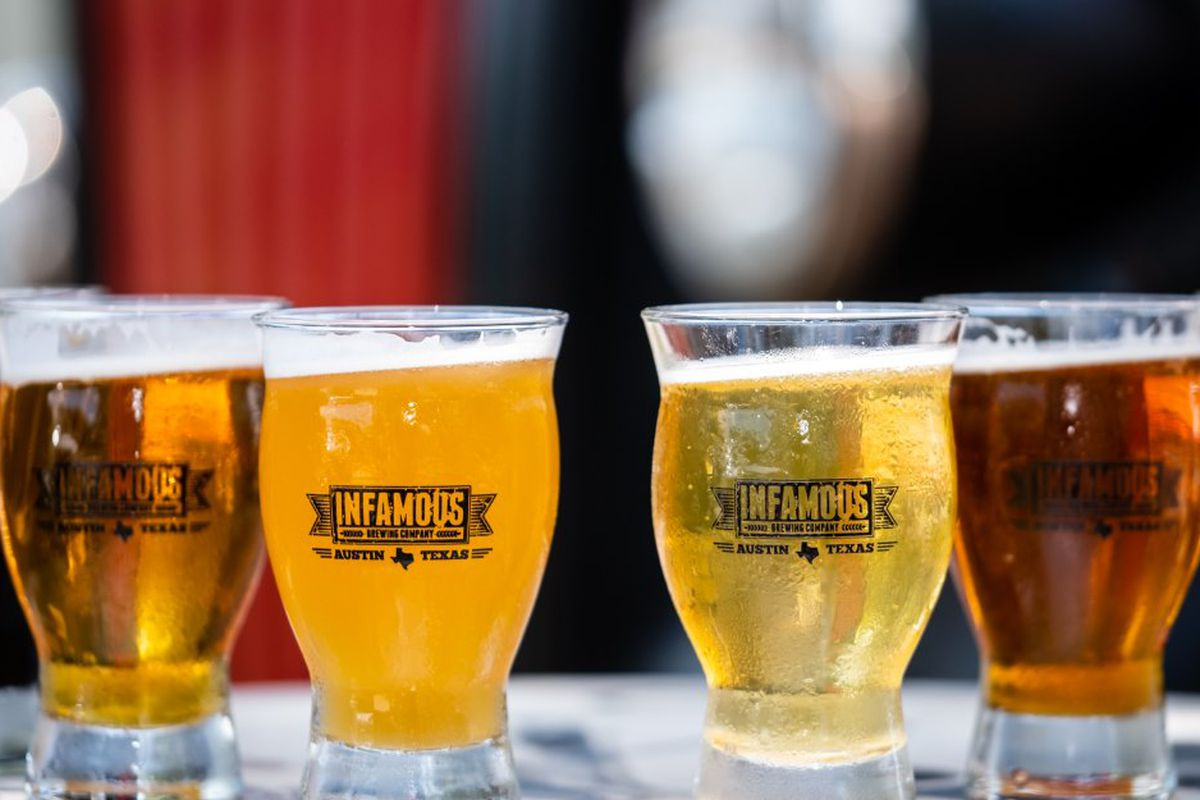 Six glasses of beers, ranging in color from light to dark