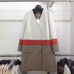 Save this colorblocked blanket coat, $175, in the back of your closet.