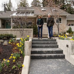 Pastor Steve Aeschbacher, of the First Presbyterian Church, and his wife, Alice, prepare to take a walk near their home in Salt Lake City, part of their routine while practicing social distancing, on Saturday, March 28, 2020.