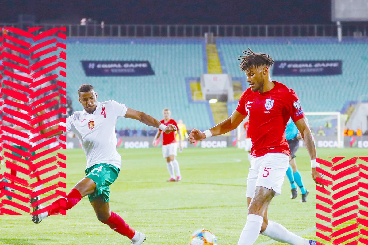 England's Tyrone Mings plays against Bulgaria in a Euro qualifying match.