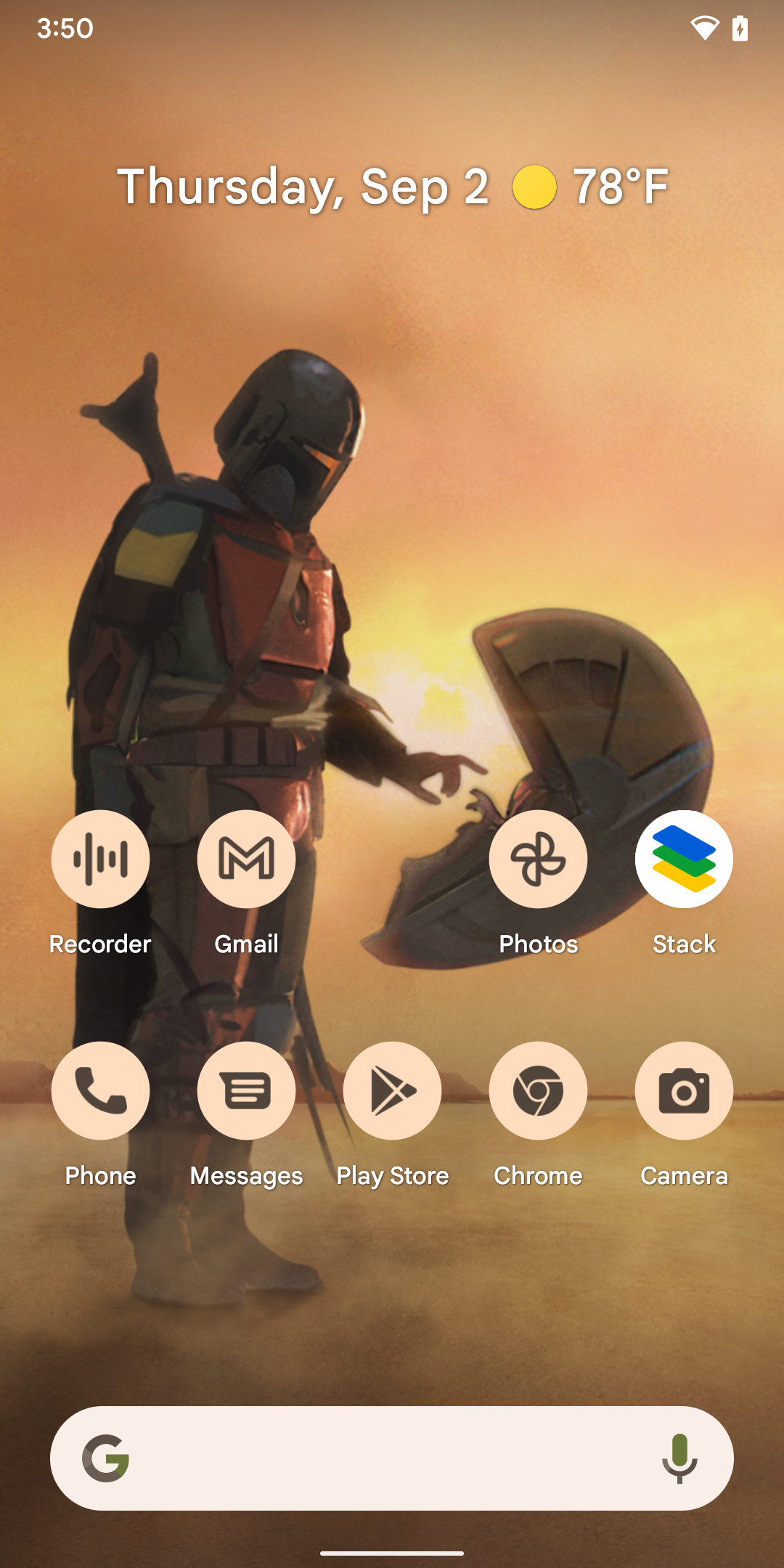 The home screen with themed icons.