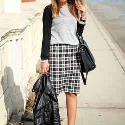 "Emily of <a href=""http://www.stilettobeats.com""target=""_blank""> Stiletto Beats</a> is wearing a Forever 21 skirt and sweater, an H&M jacket, a Zara bag, Cotton On sunglasses and Prabal Gurung x Target heels."