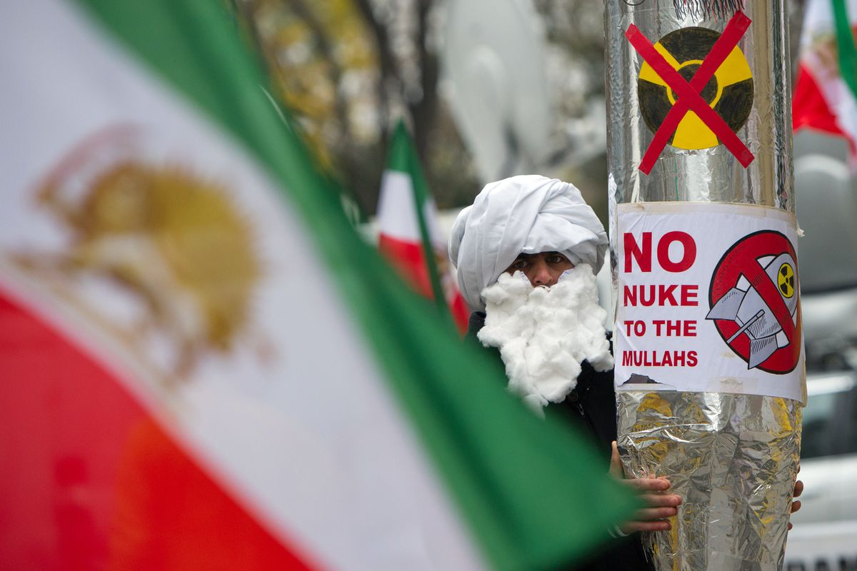 A 2014 photo of protesters outside the Iran nuclear talks in Vienna.