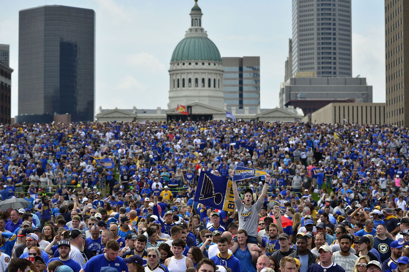 Watching the Blues and St  Louis celebrate their 1st Stanley