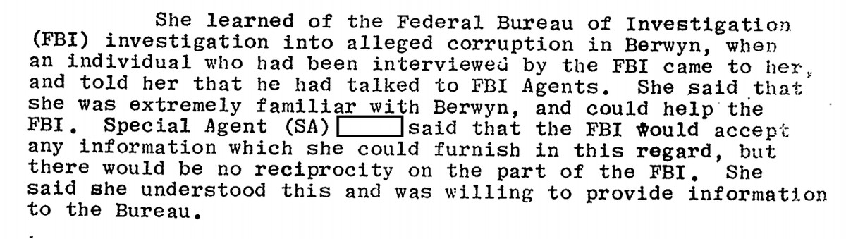 """A portion of Judy Baar Topinka's FBI file that says she told agents she was """"willing to provide information to the Bureau."""""""