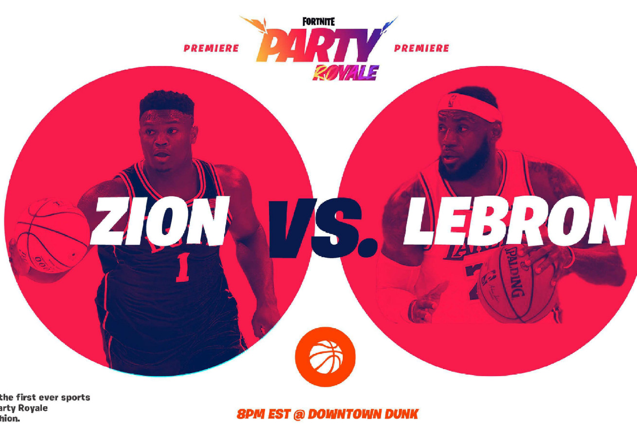 "An Epic promo doc presents ""Zion vs. Lebron"" Fortnite Party Royale featuring Zion Williamson and Lebron James"