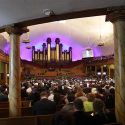 Attendees listen in the Tabernacle during the 182nd Annual General Conference for The Church of Jesus Christ of Latter-day Saints in Salt Lake City  Sunday, April 1, 2012.