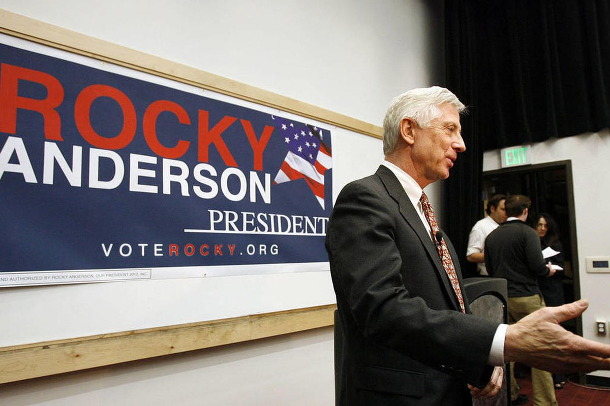 Rocky Anderson talks with the press following his acceptance speech as the Justice Party nominee for president of the United States in Salt Lake City, Friday, Jan. 13, 2012.