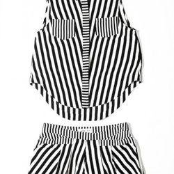 Stripe sleeveless top, $295<br />Stripe pocket shorts, $320